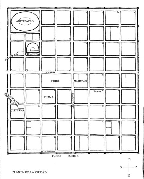 Roman cities were planned out using a grid.  A Forum was usually in the middle, where two streets intersected one another.